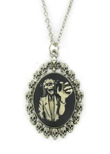 Jewelry - Antiqued Cream Zombie Grab Cameo In Silver Skull Pendant