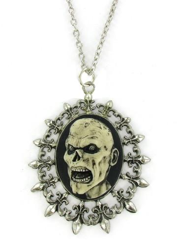 Jewelry - Antiqued Cream Zombie Head Cameo In Fleur De Lis Pendant