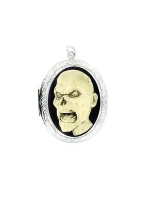 Jewelry - Antiqued Cream Zombie Head Cameo In Silver Locket