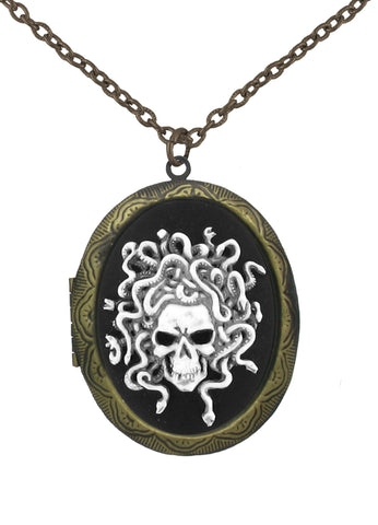 Jewelry - Antiqued Medusa Cameo In Gold Locket Pendant