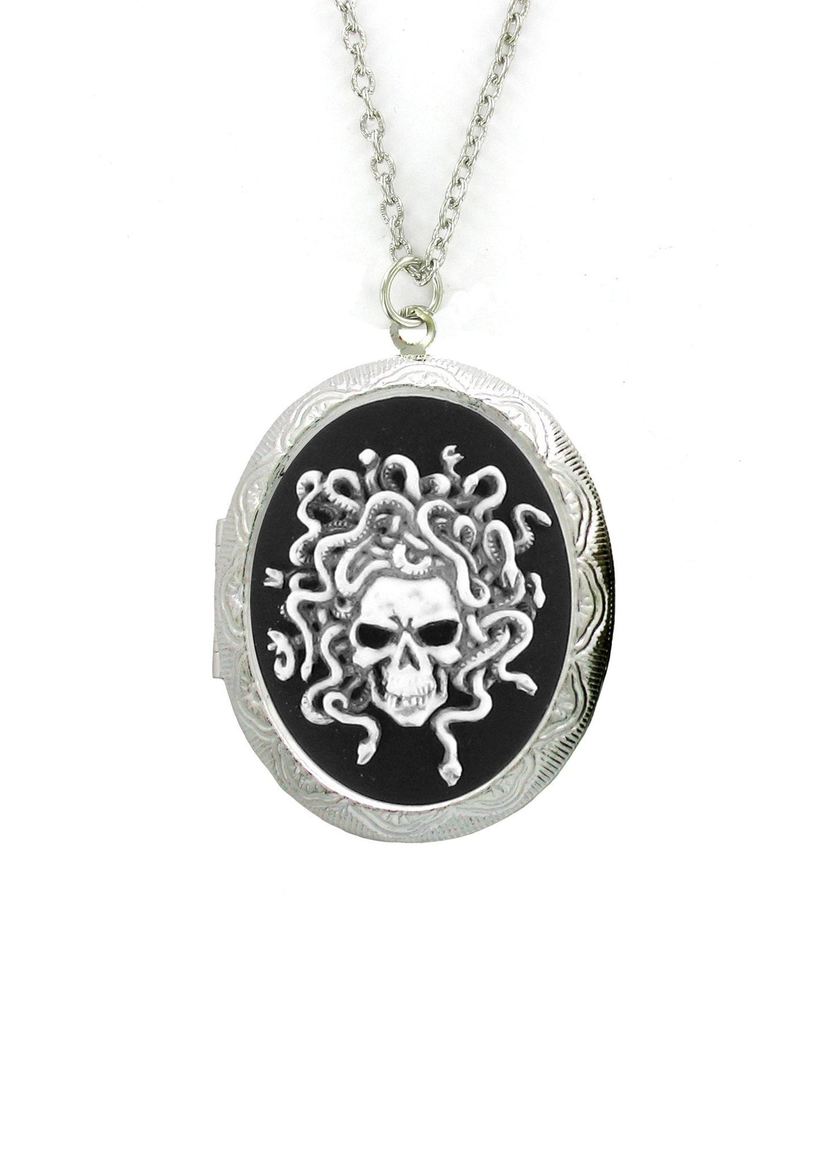 Jewelry - Antiqued Medusa Cameo In Silver Locket Pendant