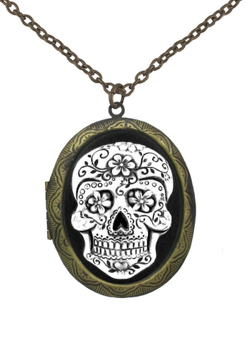Jewelry - Antiqued Sugar Skull Cameo In Gold Locket Pendant