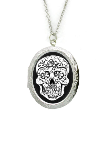 Jewelry - Antiqued Sugar Skull Cameo In Silver Locket Pendant