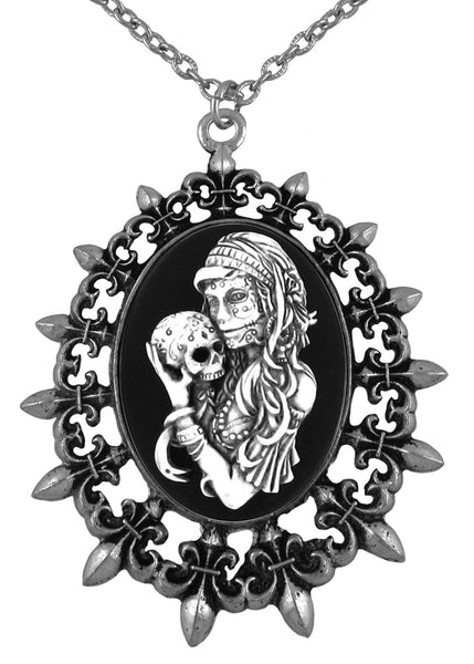 Jewelry - Antiqued Voodoo Mistress Holding A Sugar Skull Cameo In Fleur De Lis Pendant