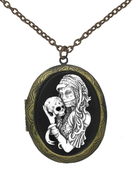 Jewelry - Antiqued Voodoo Mistress Holding A Sugar Skull Cameo In Gold Locket Pendant