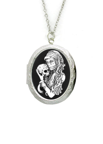 Jewelry - Antiqued Voodoo Mistress Holding A Sugar Skull Cameo In Silver Locket Pendant