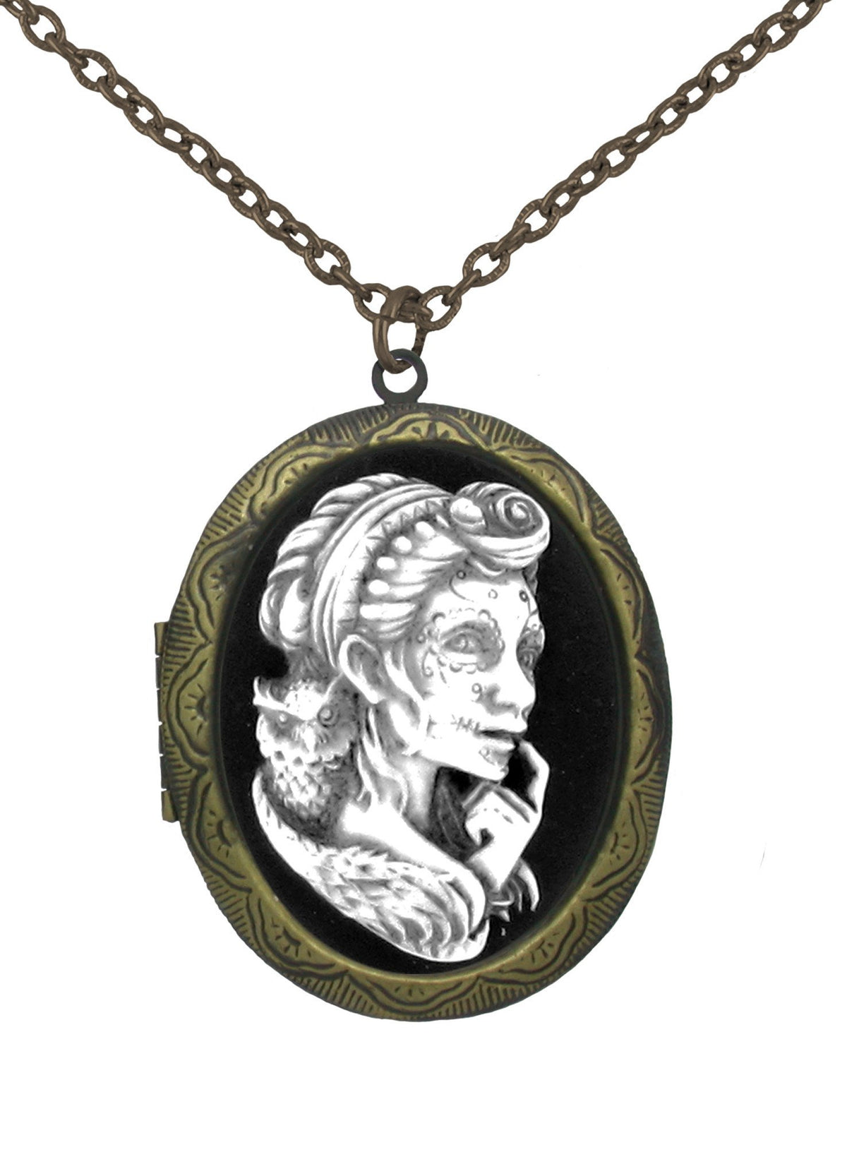 Jewelry - Antiqued Voodoo Mistress With Owl Cameo In Gold Locket Pendant
