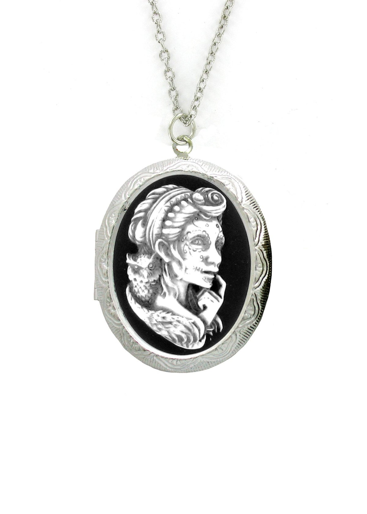 Jewelry - Antiqued Voodoo Mistress With Owl Cameo In Silver Locket Pendant