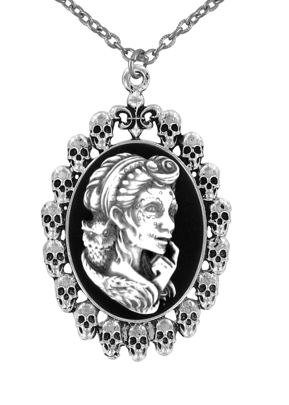 Jewelry - Antiqued White Voodoo Mistress Holding With Owl Cameo In Skull Frame Pendant