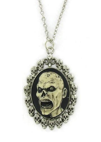 Jewelry - Antiqued White Zombie Head Cameo In Skull Frame Pendant