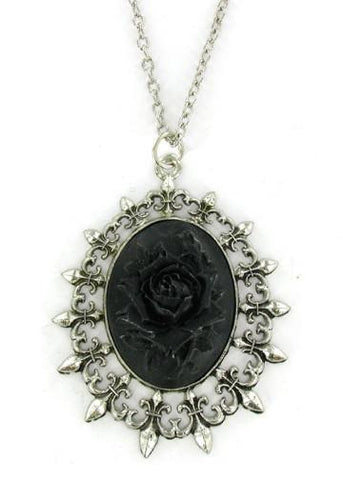 Jewelry - Black Rose Cameo In Fleur De Lis Pendant