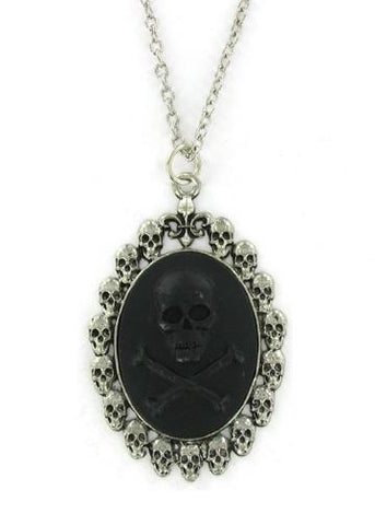 Jewelry - Black Skull And Crossbones Cameo In Skull Pendant