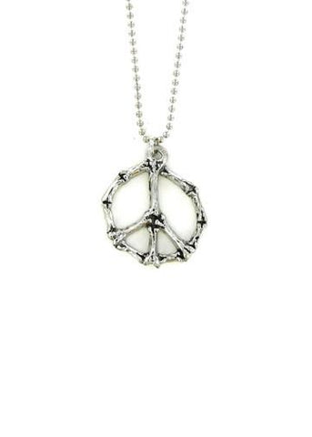Jewelry - Bone Peace Sign Ball Chain Necklace