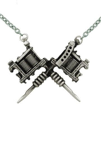 Jewelry - Crossed Tattoo Guns Necklace