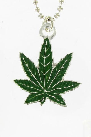 Jewelry - Green Pot Leaf Ball Chain Necklace