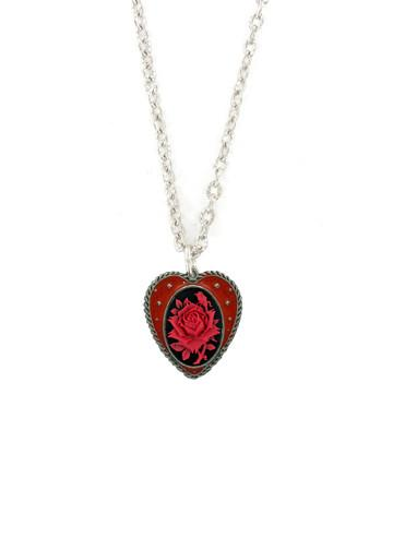 Jewelry - Medium Red Rose In Heart Pendant