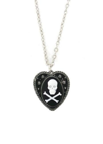 Jewelry - Medium White Skull & Crossbones In Heart Pendant