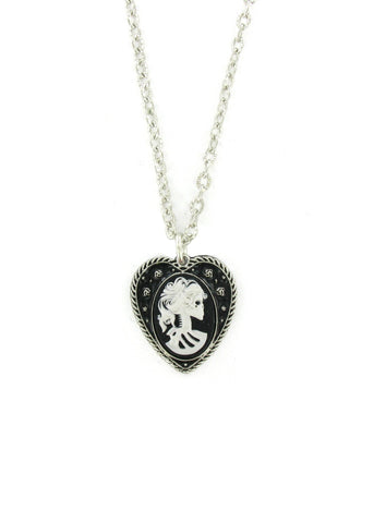 Jewelry - Medium White Zombie Cameo In Heart Pendant