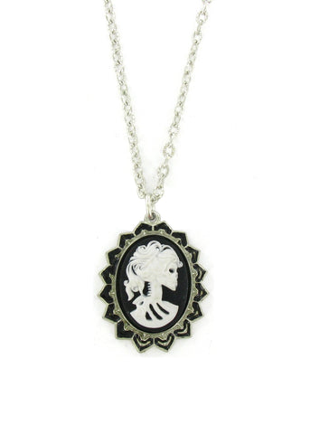 Jewelry - Medium White Zombie Cameo In Spade Pendant