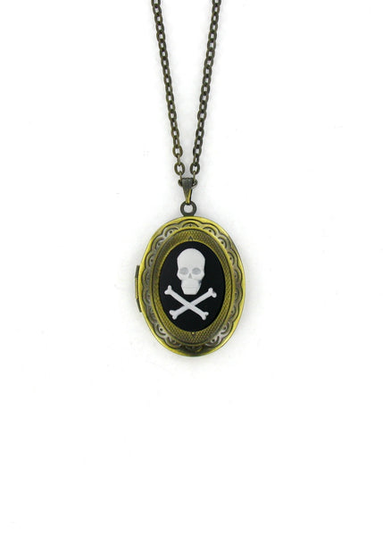 Jewelry - Mini White Skull & Crossbones Cameo Gold Locket