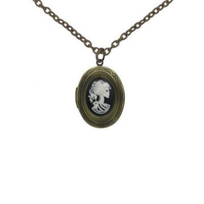 Jewelry - Mini White Zombie Cameo In Gold Locket Pendant