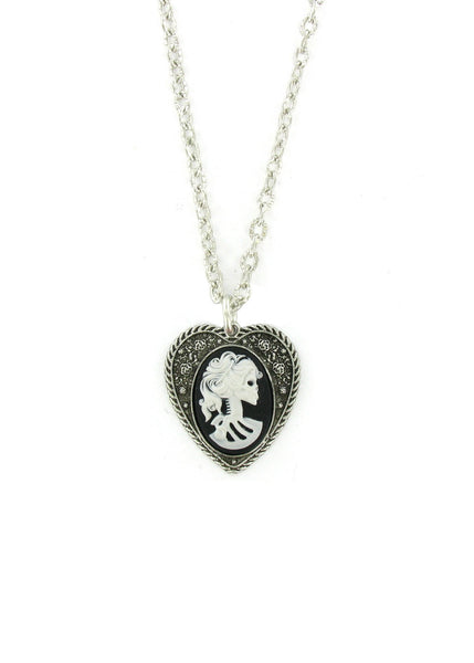 Jewelry - Mini White Zombie Cameo In Heart Pendant