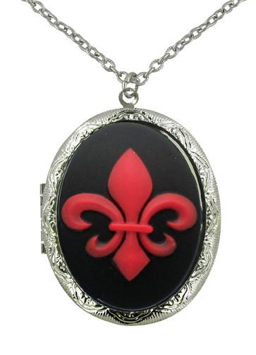 Jewelry - Red Fluer De Lis Cameo Locket