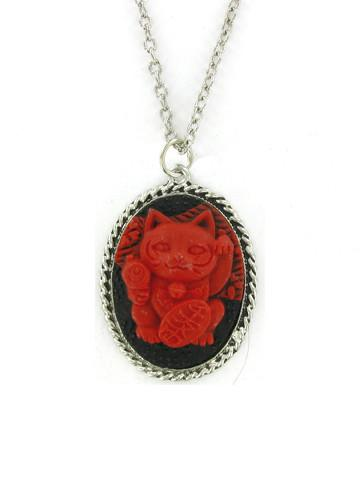 Jewelry - Red Lucky Cat Maneki-Neko Cameo In Rope Pendant