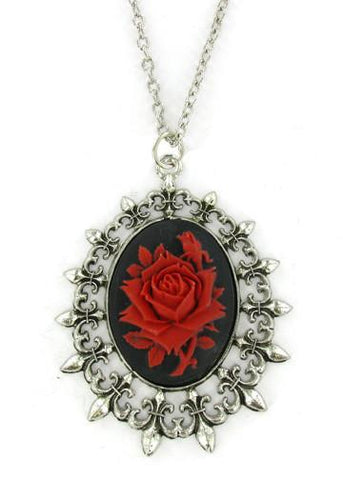 Jewelry - Red Rose Cameo In Fleur De Lis Pendant