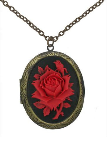Jewelry - Red Rose Cameo In Gold Locket Pendant