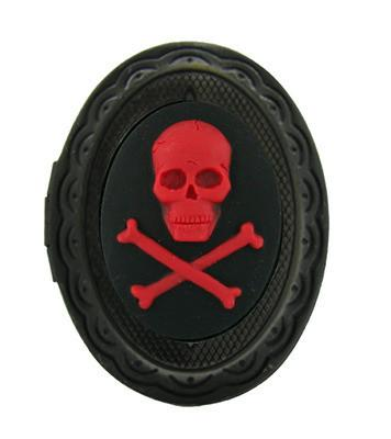 Jewelry - Red Skull And Crossbones Cameo Locket Ring