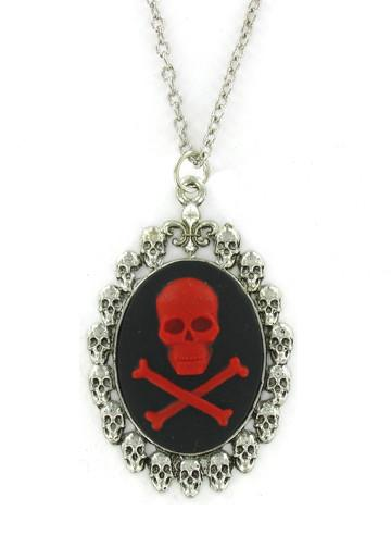 Jewelry - Red Skull & Crossbones Cameo In Skull Pendant
