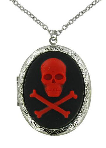 Jewelry - Red Skull & Crossbones Cameo Locket Pendant
