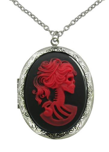 Jewelry - Red Zombie Bride Cameo Locket