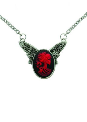 Jewelry - Red Zombie Bride Cameo Steampunk Wings Necklace