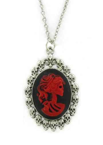 Jewelry - Red Zombie Cameo In Skull Pendant