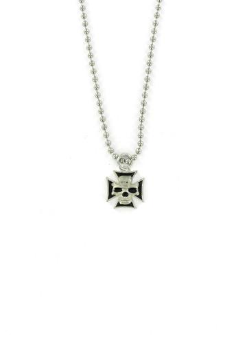 Jewelry - Skull In Iron Cross Ball Chain Necklace