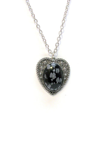 Jewelry - Snowflake Obsidian Heart Necklace