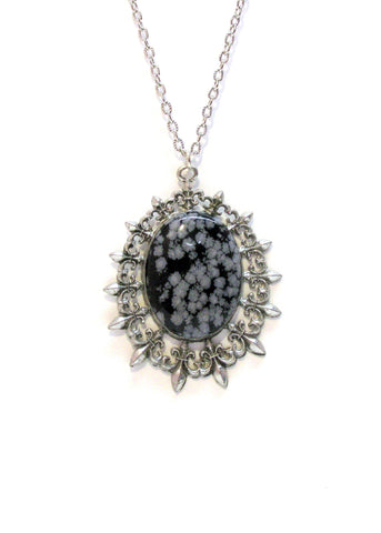 Jewelry - Snowflake Obsidian In Fleur De Lis Necklace