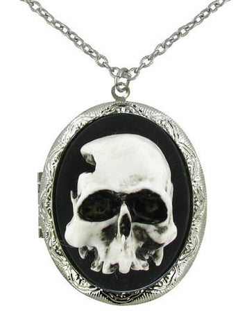 Jewelry - White 3D Skull Cameo Locket