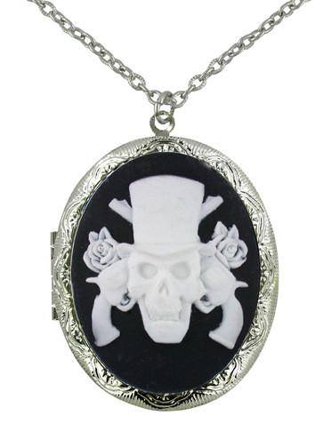 Jewelry - White Guns & Roses Cameo Locket Pendant