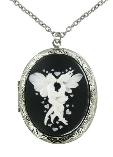 Jewelry - White Kissing Fairies Cameo Locket Pendant