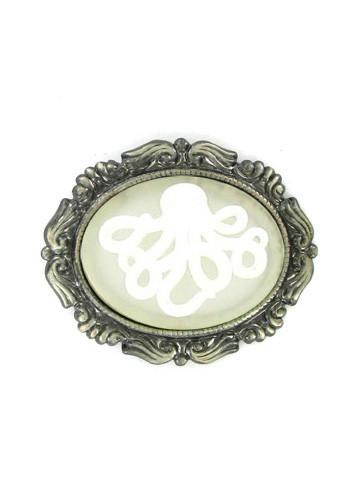 Jewelry - White Octopus Ghost Cameo Antiqued Brooch