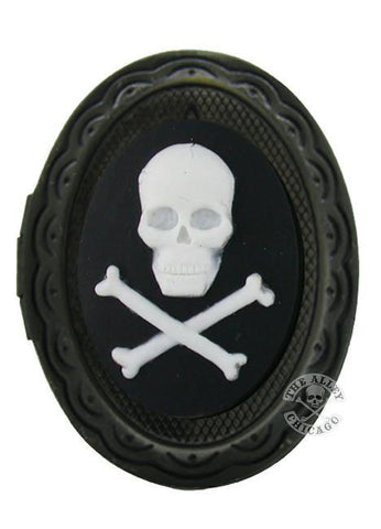 Jewelry - White Skull And Crossbones Cameo Locket Ring