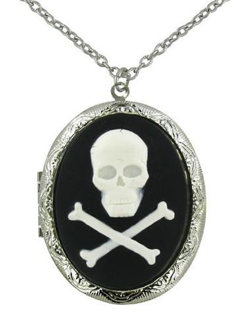 Jewelry - White Skull & Crossbones Cameo Locket Pendant