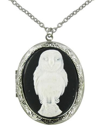Jewelry - White Snow Owl Cameo Locket