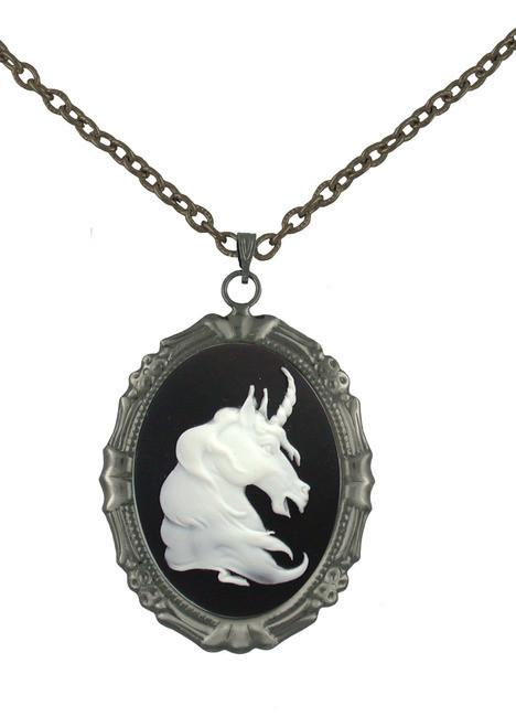 Jewelry - White Unicorn Cameo In Antiqued Pendant