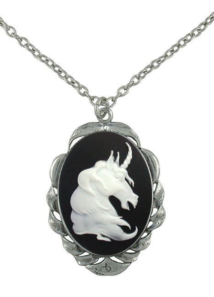 Jewelry - White Unicorn Cameo In Scroll Pendant