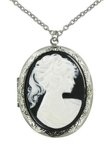 Jewelry - White Victorian Lady Cameo Locket Pendant