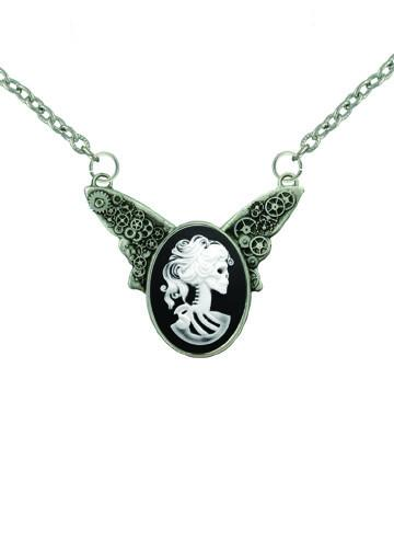 Jewelry - White Zombie Bride Cameo Steampunk Wings Necklace